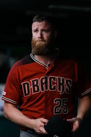 May 5, 2019: Arizona Diamondbacks relief pitcher Archie Bradley (25) in the dugout after being pulled in the eighth inning against the Colorado Rockies at Coors Field.