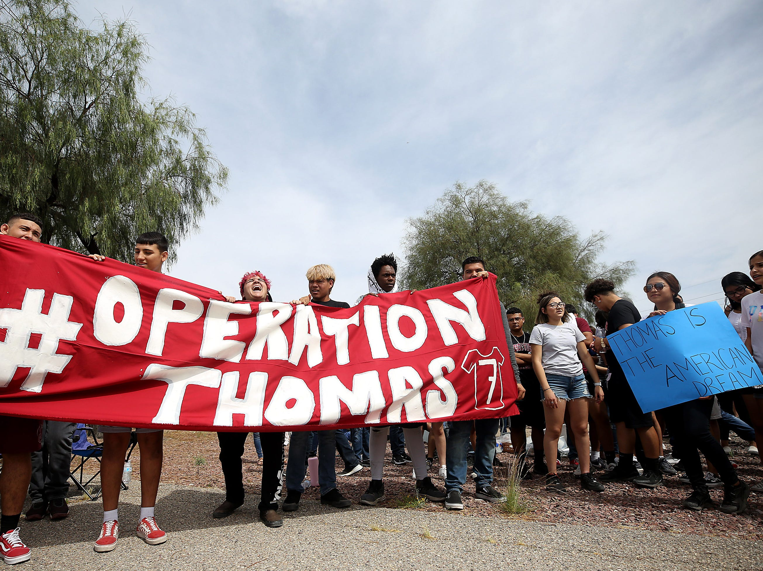 Approximately 200 students from Desert View High School marched to the Pima County Sheriff's Department May 6th, 2019 to protest the detention of their classmate, Thomas Torres, who was stopped by a sheriff's deputy on May 2 and was detained until Border Patrol arrived.