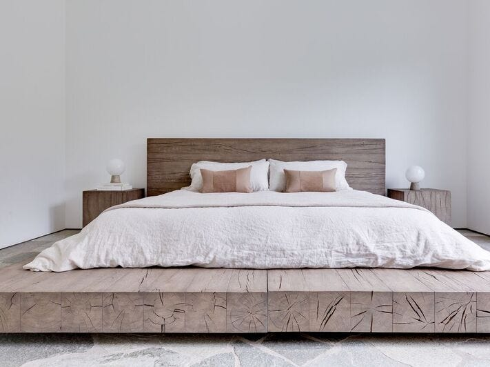The master bedroom was recreated with modern simplicity.
