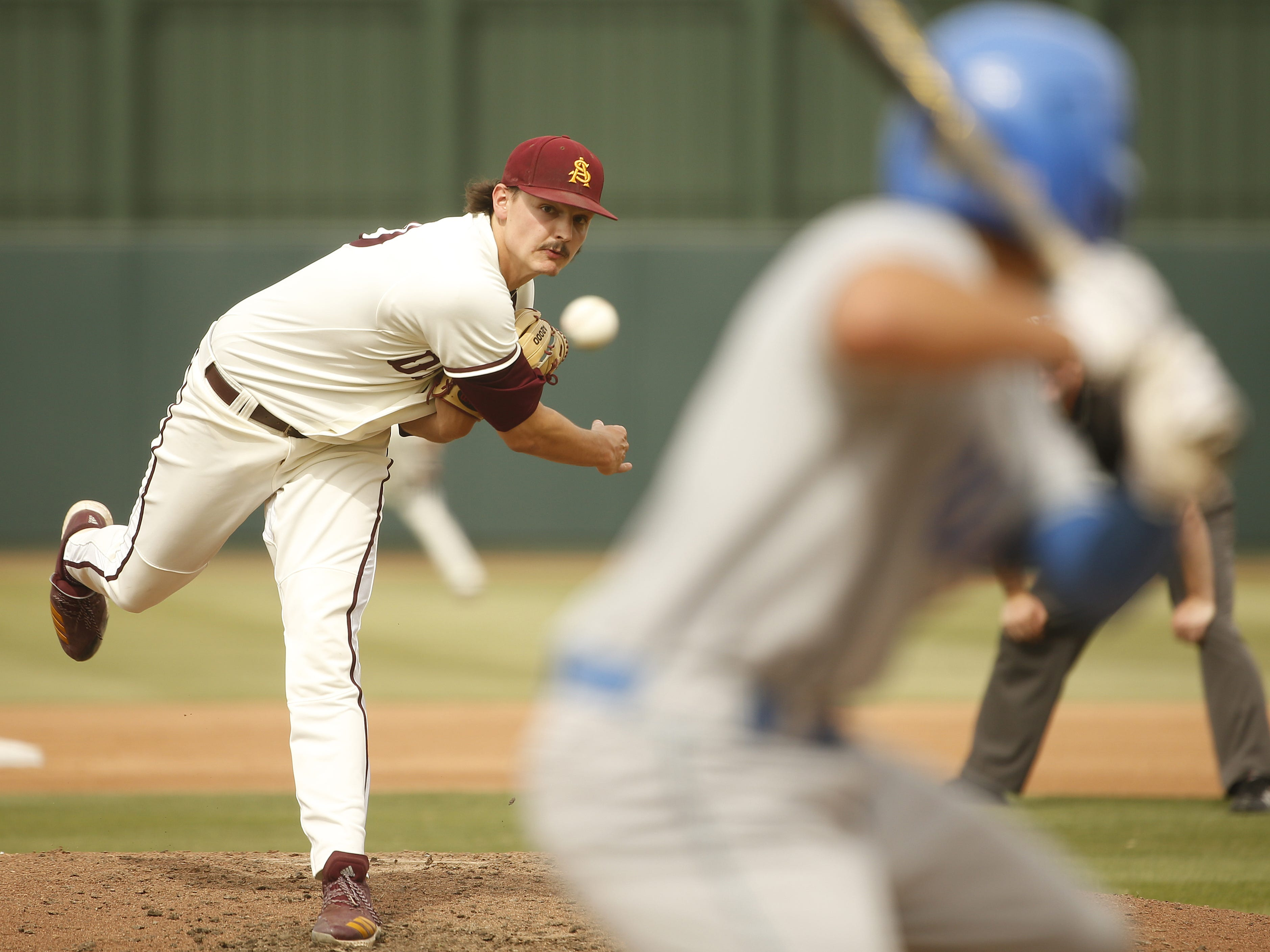 ASU's Brady Corrigan (30) pitches in relief during the fourth inning against UCLA at Phoenix Municipal Stadium in Phoenix, Ariz. on May 5, 2019.