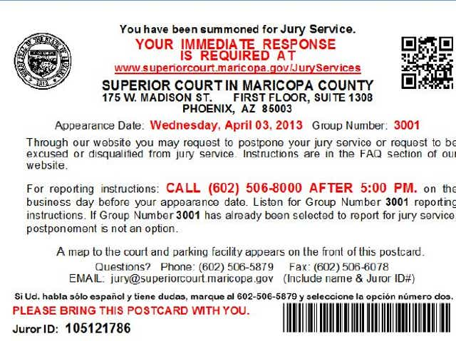 Got jury duty in Maricopa County? Here's what to do