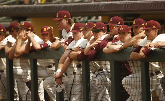 ASU's dugout looks on during the first inning against UCLA at Phoenix Municipal Stadium in Phoenix, Ariz. on May 5, 2019.