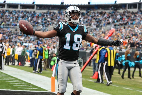 Panthers receiver Damiere Byrd celebrates after scoring a touchdown against the Packers at Bank of America Stadium.