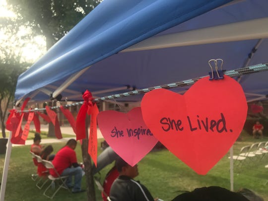 People were encouraged to write names of their loved ones who were missing or murdered on hearts at a booth stationed at the Capitol on May 5, 2019.