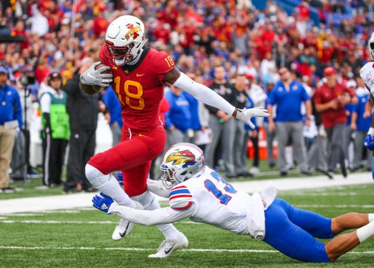 Iowa State receiver Hakeem Butler goes for a touchdown during a game against Kansas at Memorial Stadium.