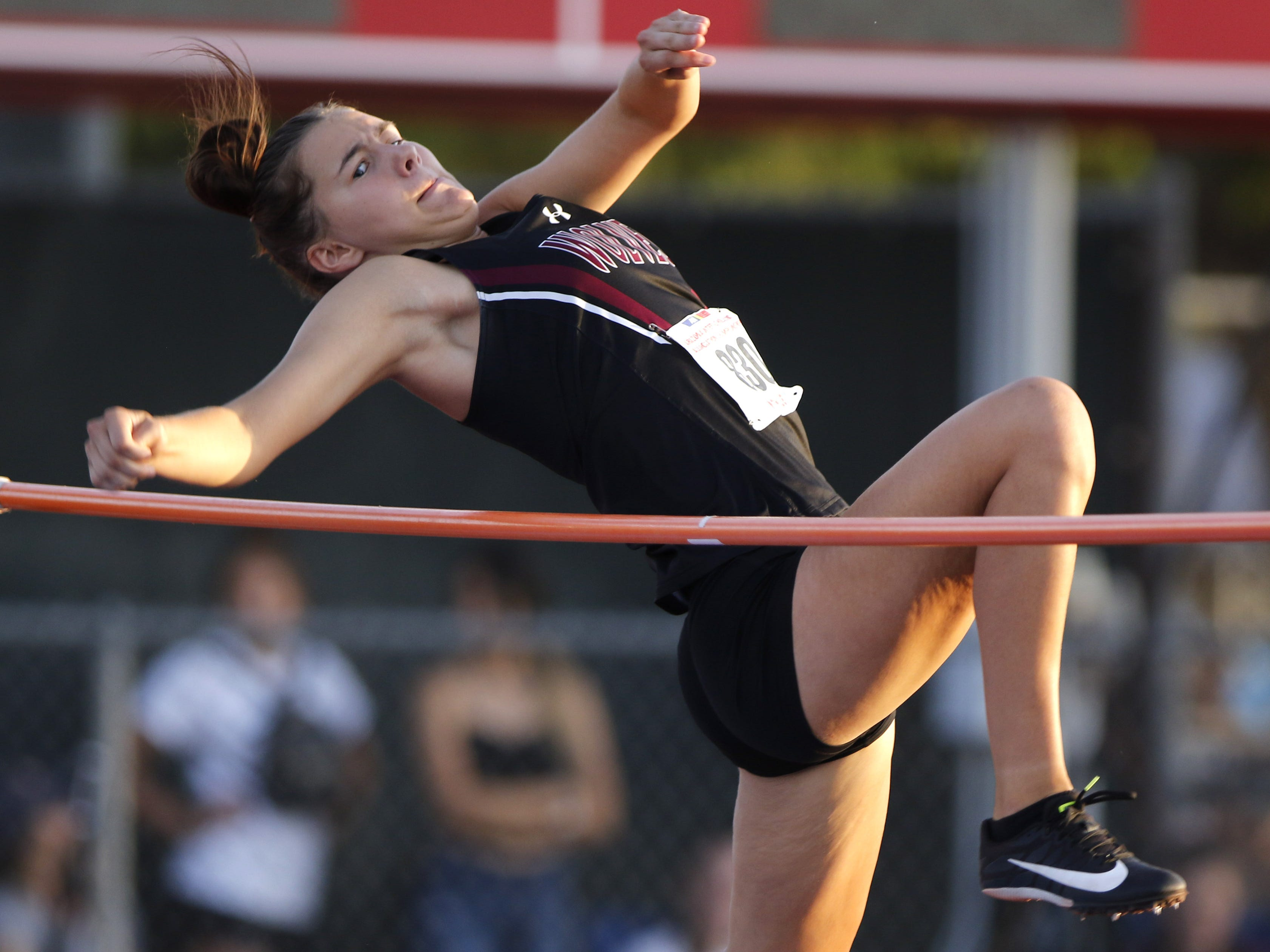 Desert Mountian's Olivia LeBlanc eyes the bars during the Division II high jump championship during the 2019 Arizona State Track and Field Championship at Mesa Community College in Mesa, Arizona, May 04, 2019.