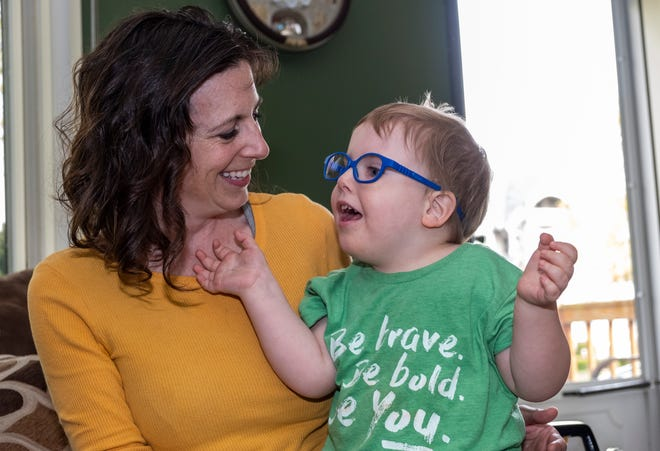 Brandalynn McDonald sits with her son Oliver, 4, in her Marine City home Friday, May 3, 2019. Oliver was born with Joubert Syndrome, a rare genetic disorder that impacts things like muscle tone and the brain.