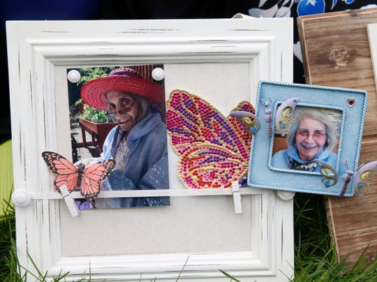 Photographs of Genevieve Bodgan's mother, Rita photographed at Waryas Park in the City of Poughkeepsie on May 6, 2019. Rita passed away in 2016, and Genevieve has found several ways to cope with her loss.