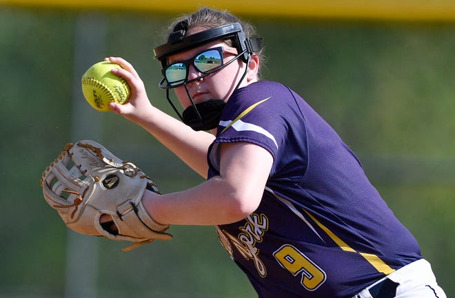 Eastern York's Amber Forry hauls back to make the throw at first against Susquehannock, Monday, May 6, 2019.John A. Pavoncello photo