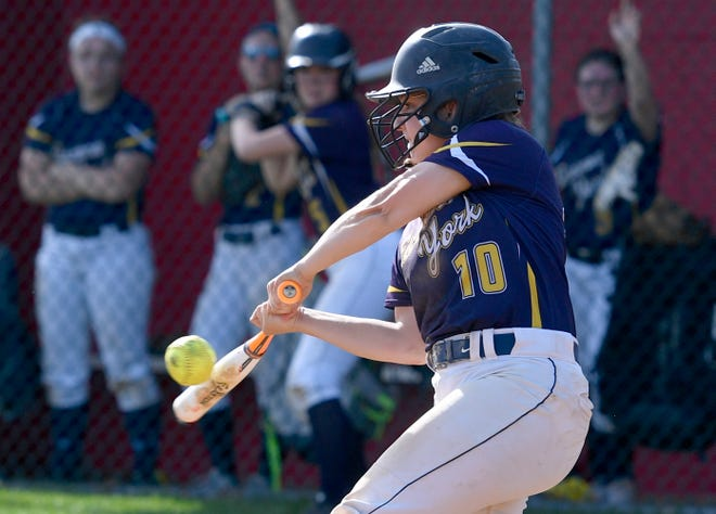 Eastern York's Katie Lehman connects with a two RBI single against Susquehannock in the fifth inning, Monday, May 6, 2019.