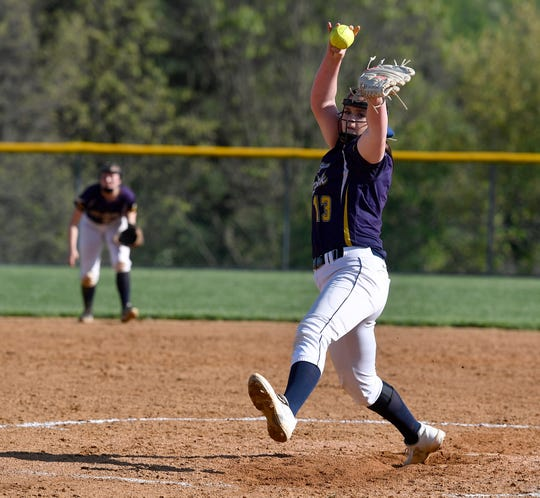 Eastern York's Maelynn Leber shuts out Susquehannock to lead the Golden Knights to a 10-0 win, Monday, May 6, 2019.