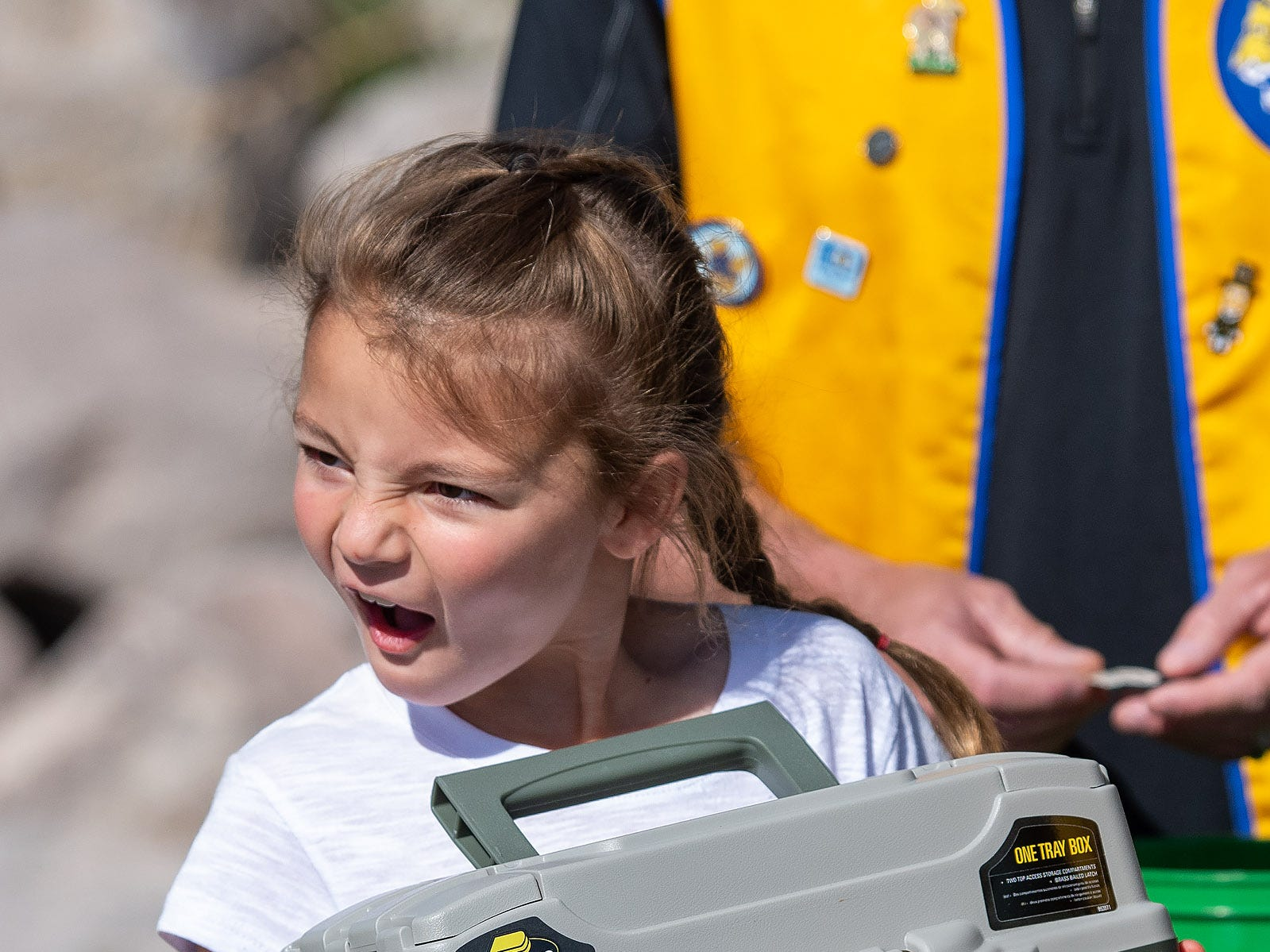 Tilly Smith, 7, from Yerington, shows off her tackle box she won in the raffle.