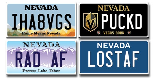 A composite image of rejected custom license plates from 2018.