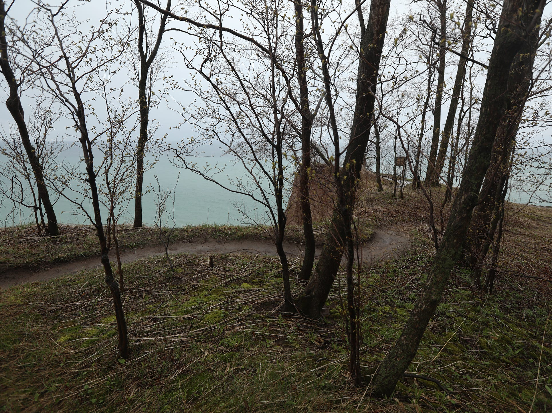 Erosion leaves a jagged coastline view of Chimney Bluffs State Park.