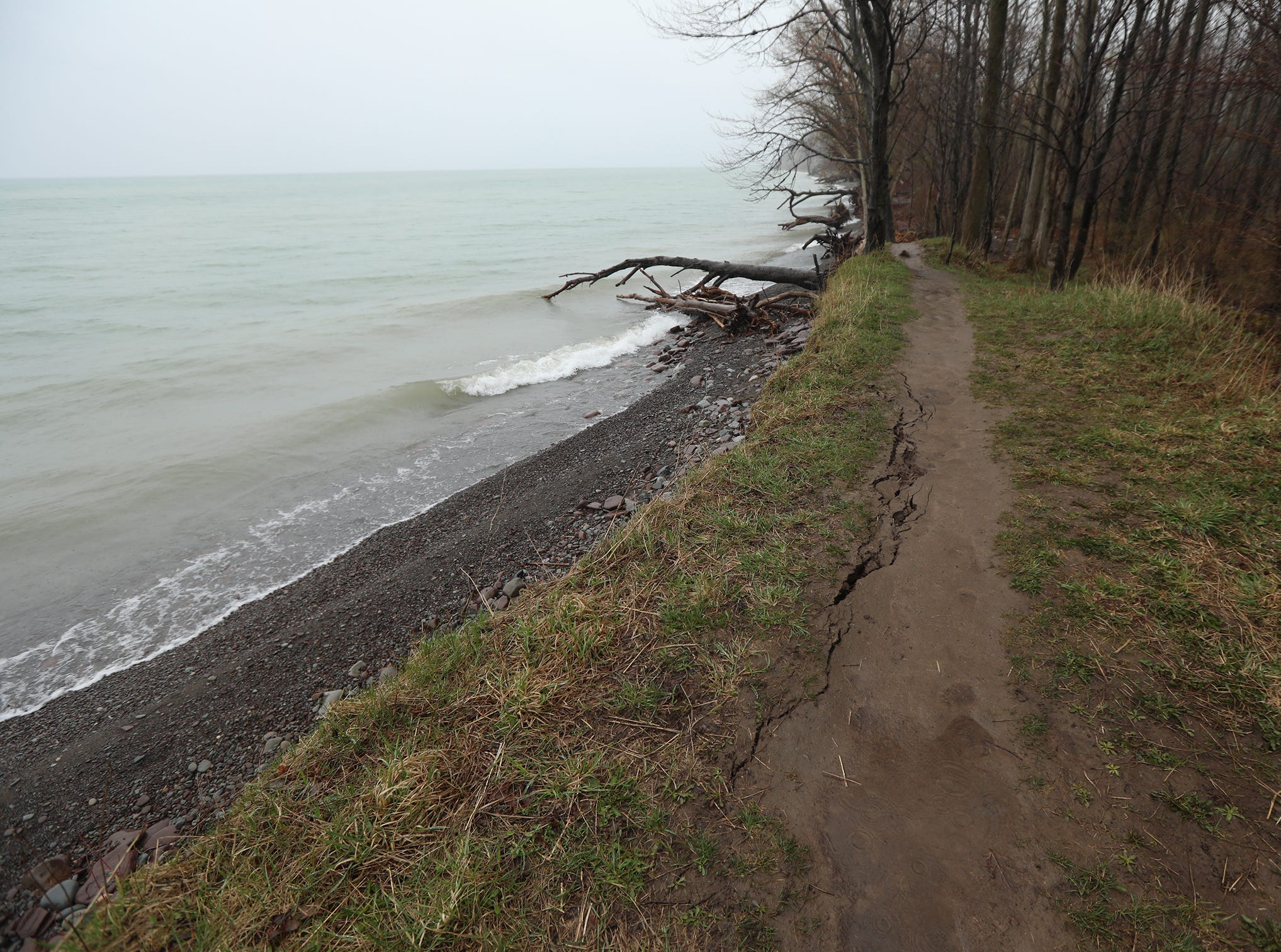 A trail along Lake Ontario is starting to show signs of erosion.