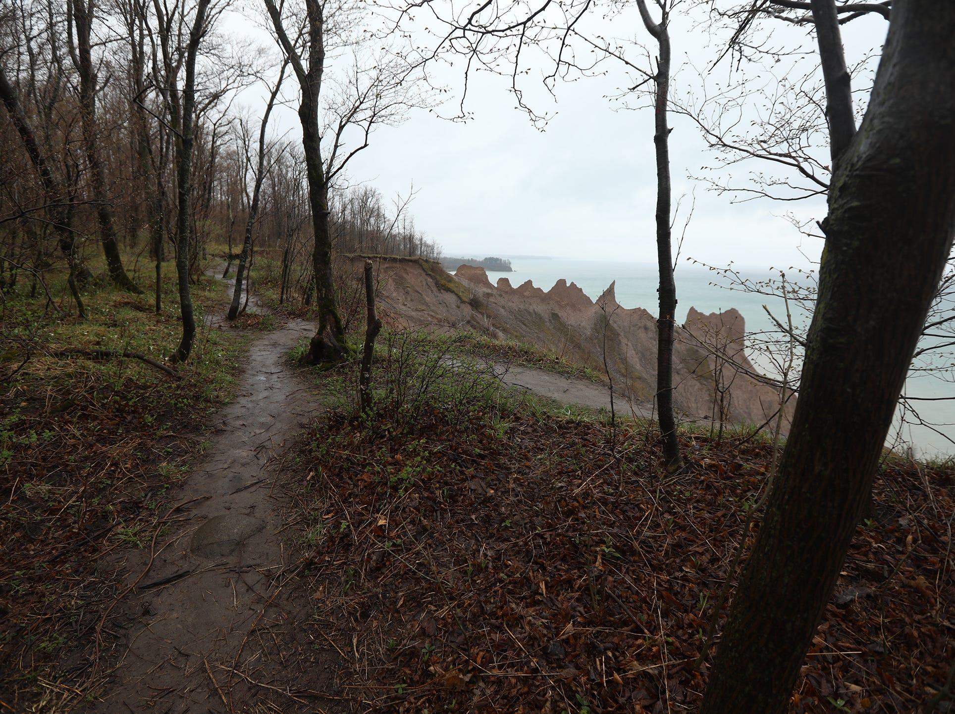 Every year erosion eats away Chimney Bluffs.