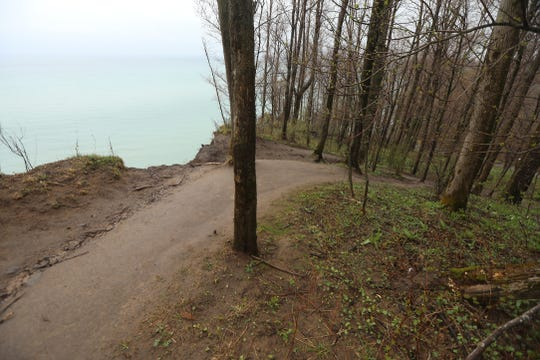 Erosion has come right up to the trail along the bluffs.
