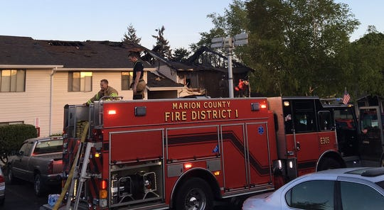 Units from Marion County Fire District 1 responded to an apartment fire on Satter Drive NE early Monday.