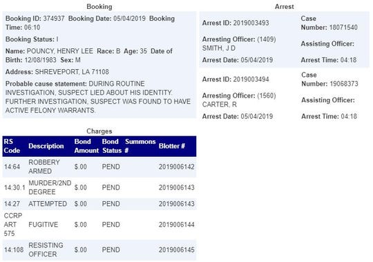 Shreveport Jail booking records for Henry Lee Pouncy.