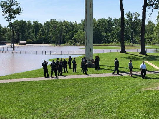 First responders are actively searching for a possible body in Red River, near East Stoner.
