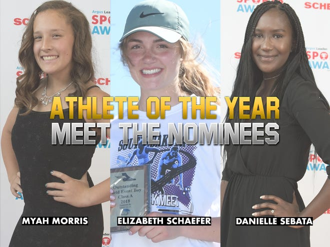 Girls Athlete of the Year nominees: Watertown's Myah Morris, Rapid City Stevens' Elizabeth Schaefer, O'Gorman's Danielle Sebata.
