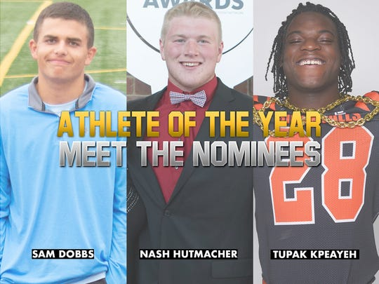 2019 Boys Athlete of the Year nominees: Lincoln's Sam Dobbs, Chamberlain's Nash Hutmacher, Washington's Tupak Kpeayeh.