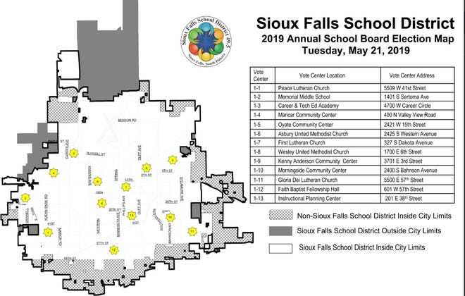 A map shows the 13 polling places for the May 21 Sioux Falls School District school board election.