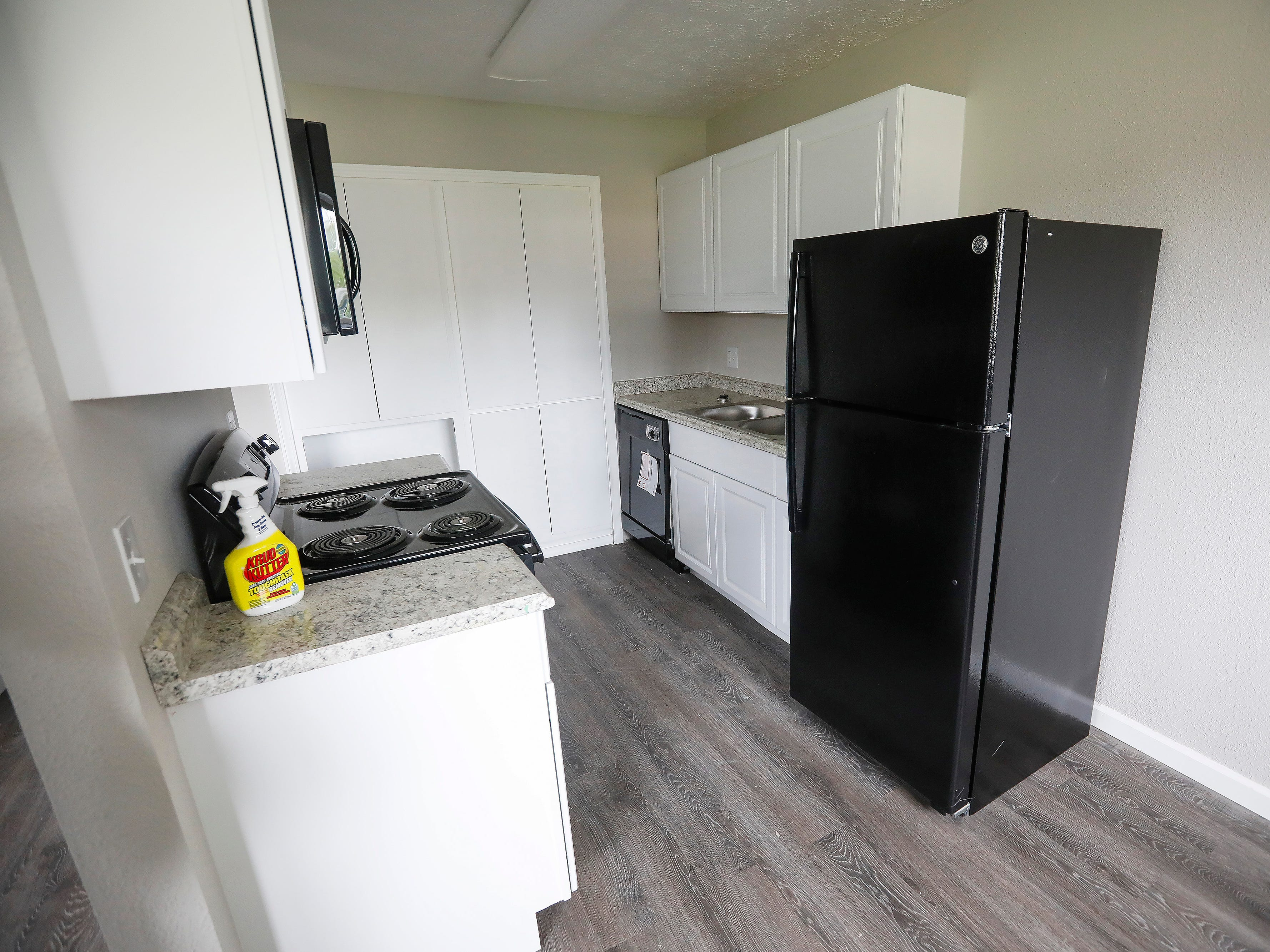 The renovated kitchen in an apartment at 2107 E Cherry St. Major renovations of the former Chris Gatley property are being done by the new owner.