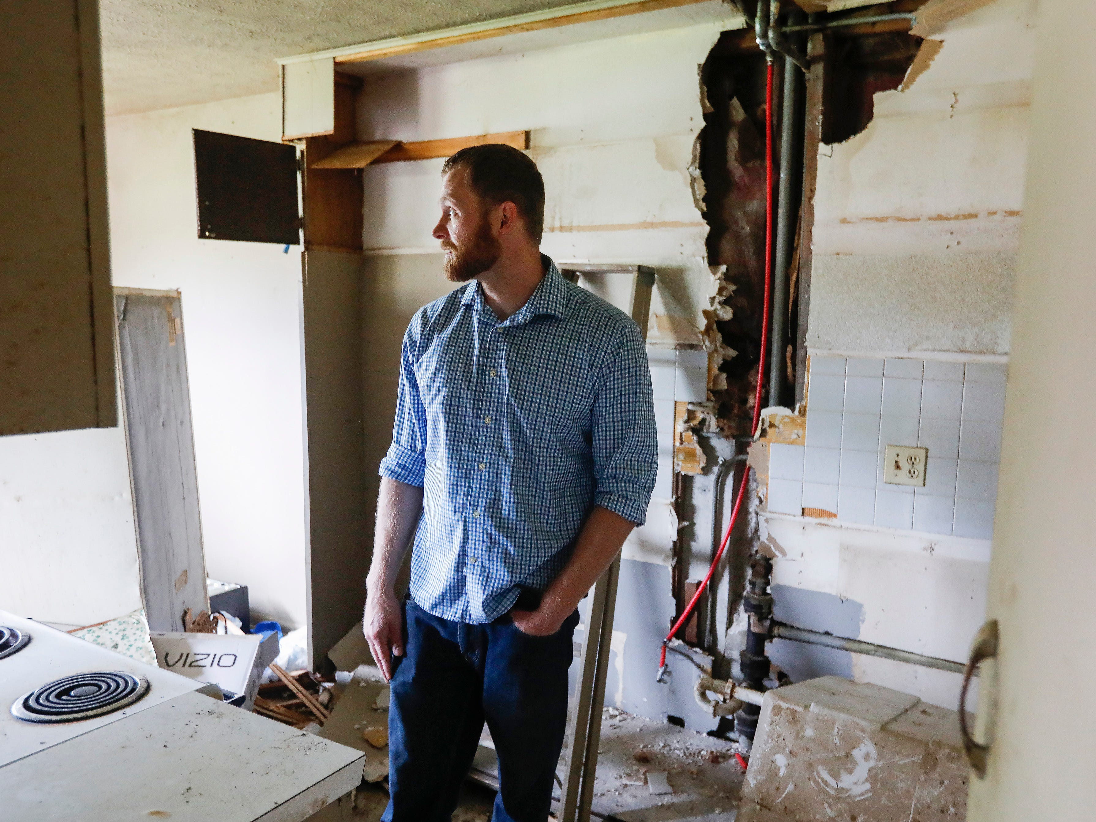This apartment at 2107 E Cherry St., that was previously owned by Chris Gatley, was left dirty and in disarray when the previous tenant moved out. Adam Stacey, the new landlord, is in the process of cleaning up and renovating the building.