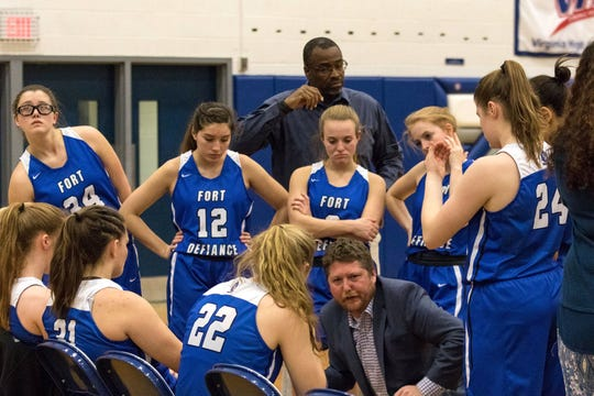 Eric Payne, standing in back center, has been an assistant coach at Fort Defiance the past two years. He will be the girls head coach at Staunton High School next school year.