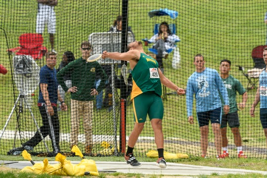 George Mason's Jaylen Simmons won a silver medal in the discus at the A10 track championship on May 5. Simmons is a Waynesboro High School graduate.