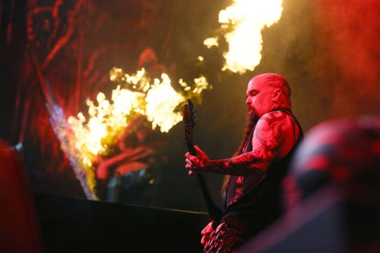 Slayer performs Sunday, May 5, at the Don Haskins Center in El Paso. Members include guitarist Kerry King, vocals and bass guitarist Tom Araya, drummer Paul Bostaph and guitarist Gary Holt. The concert featured Lamb of God, Amon Amarth and Cannibal Corpse.