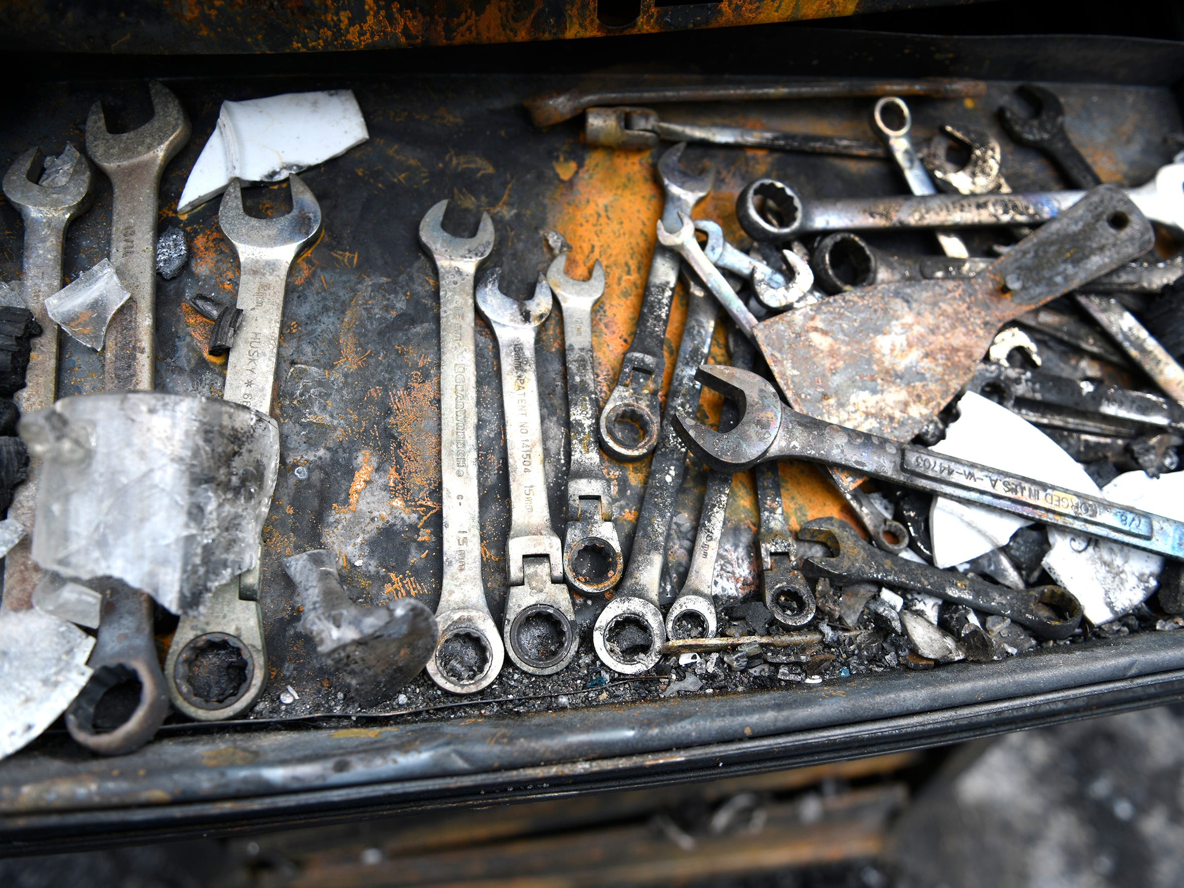 Charred tools inside the garage are seen here following Monday's house fire in Vineland.