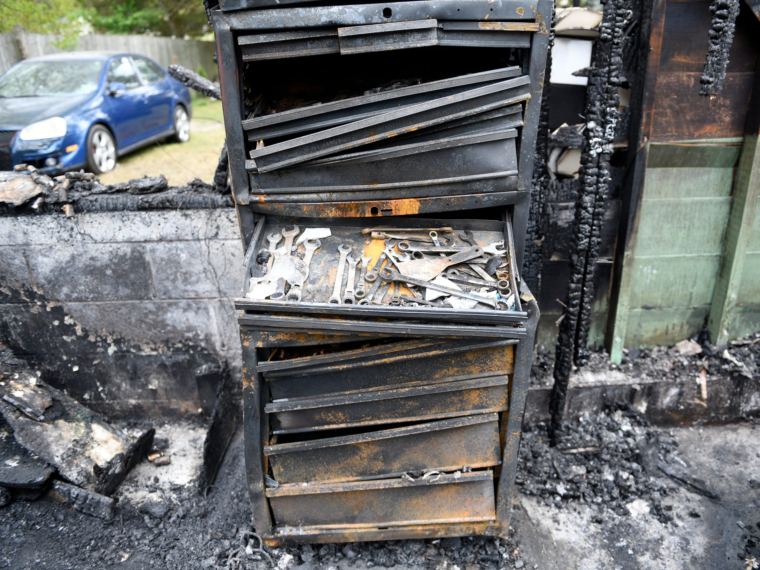 A heavy-duty tool cabinet in the garage became warped from the intense heat of Monday's house fire on the 1700 block of West Oak Road in Vineland on Monday.