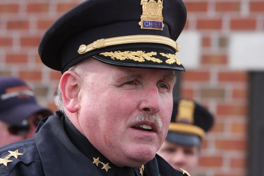 Orangetown Police Chief Kevin Nulty speaks during a press conference at the Nyack Plaza apartments Jan. 20, 2011.