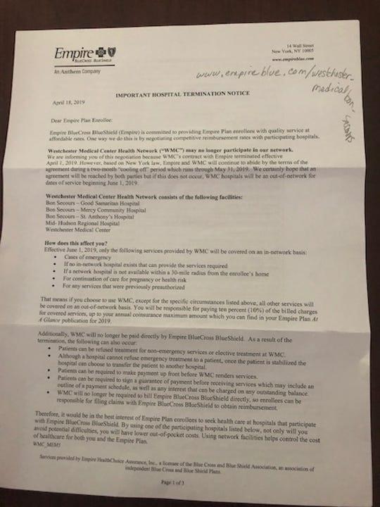 Anthem Empire BlueCross BlueShield letter regarding Westchester Medical Center Health Network contract.