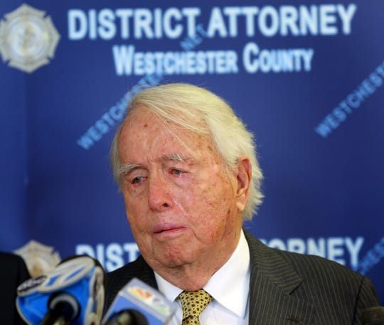 Eugene Colley of North Salem gets emotional talking about his late wife during a press conference where Westchester District Attorney Anthony Scarpino enforcement announce Esdras Marroquin Gomez, 34 guilty plea of second-degree murder in the killing of his wife Lois Colley in White Plains May 6, 2019.