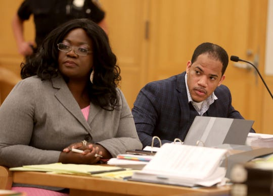 Derran Morris listens to the prosecution deliver opening statements at the Westchester County Courthouse May 6, 2019 during the first day of his trial for the murder of one of his girlfriend's 2 1/2 year old twin daughters. Morris, sitting with his attorney Christina T. Hall, is also charged with seriously injuring the other twin.