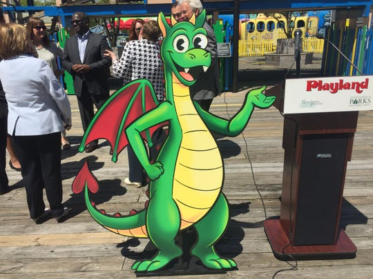 A cardboard cutout depicting Coaster, a new mascot for Playland unveiled by Westchester County Executive George Latimer's administration.