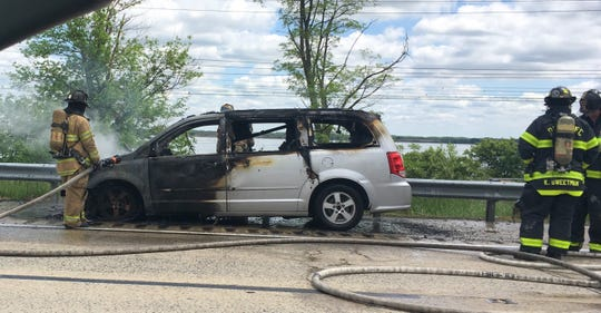 A car fire stalled traffic on I-495 northbound outside of Claymont on Monday
