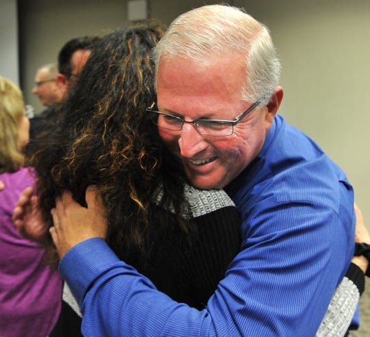 Retiring Wichita Falls police Lieutenant, Kyle Collier was met with hugs and handshakes after promotions and retirement ceremony Monday morning.