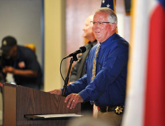 Retiring Wichita Falls police Lieutenant, Kyle Collier spoke to colleagues and new recruits, Monday morning during a promotions and retirement ceremony held at the Wichita Falls police and Fire Training Center.