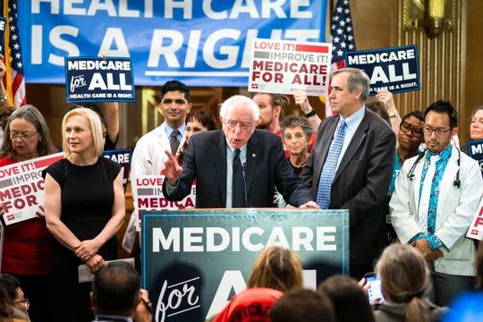 """Sen. Bernie Sanders introduces """"Medicare for All"""" on April 10, 2019."""
