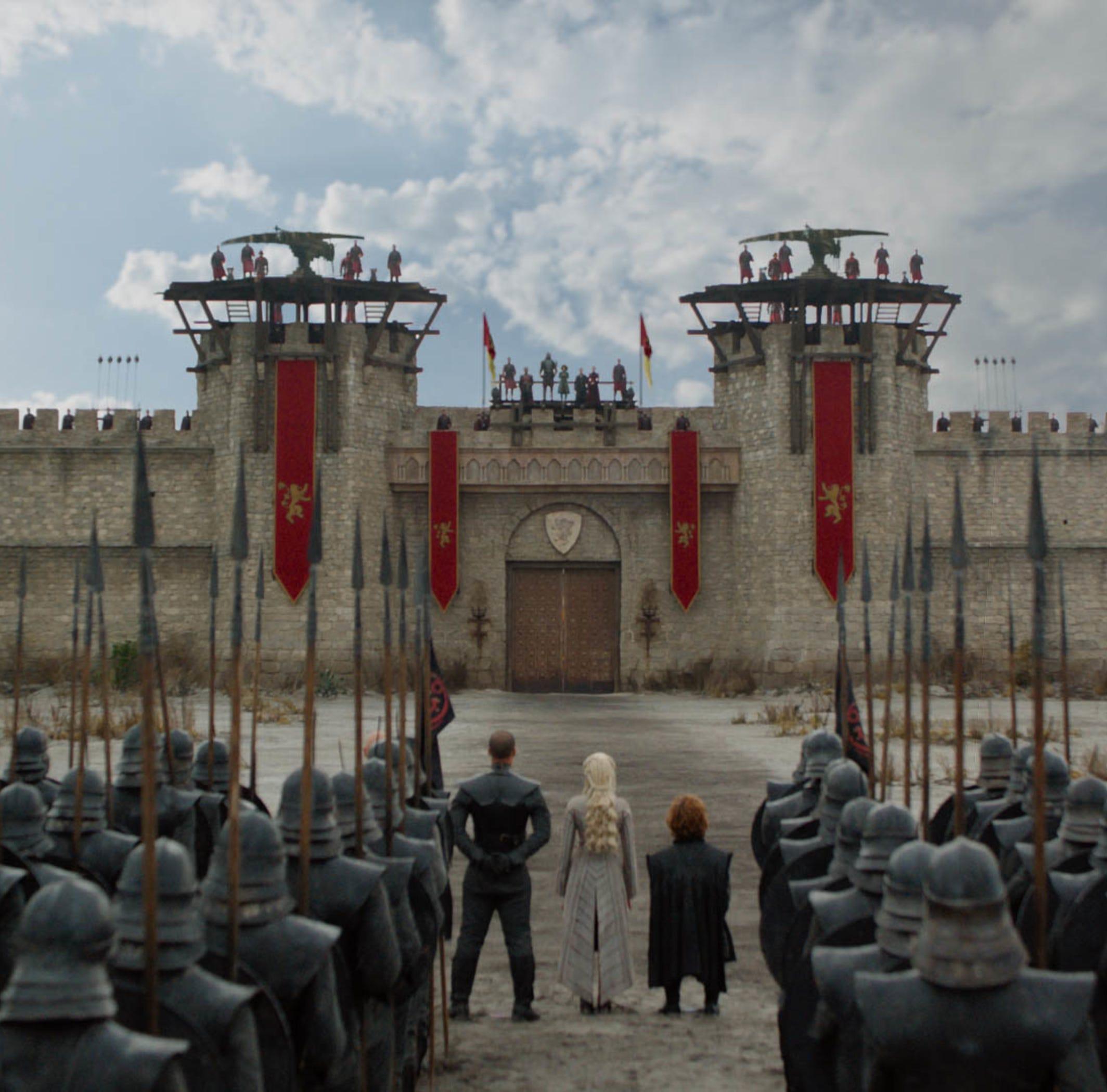 Daenerys Targaryen (Emilia Clarke), center, arrive at King's Landing to demand Cersei Lannister's surrender.