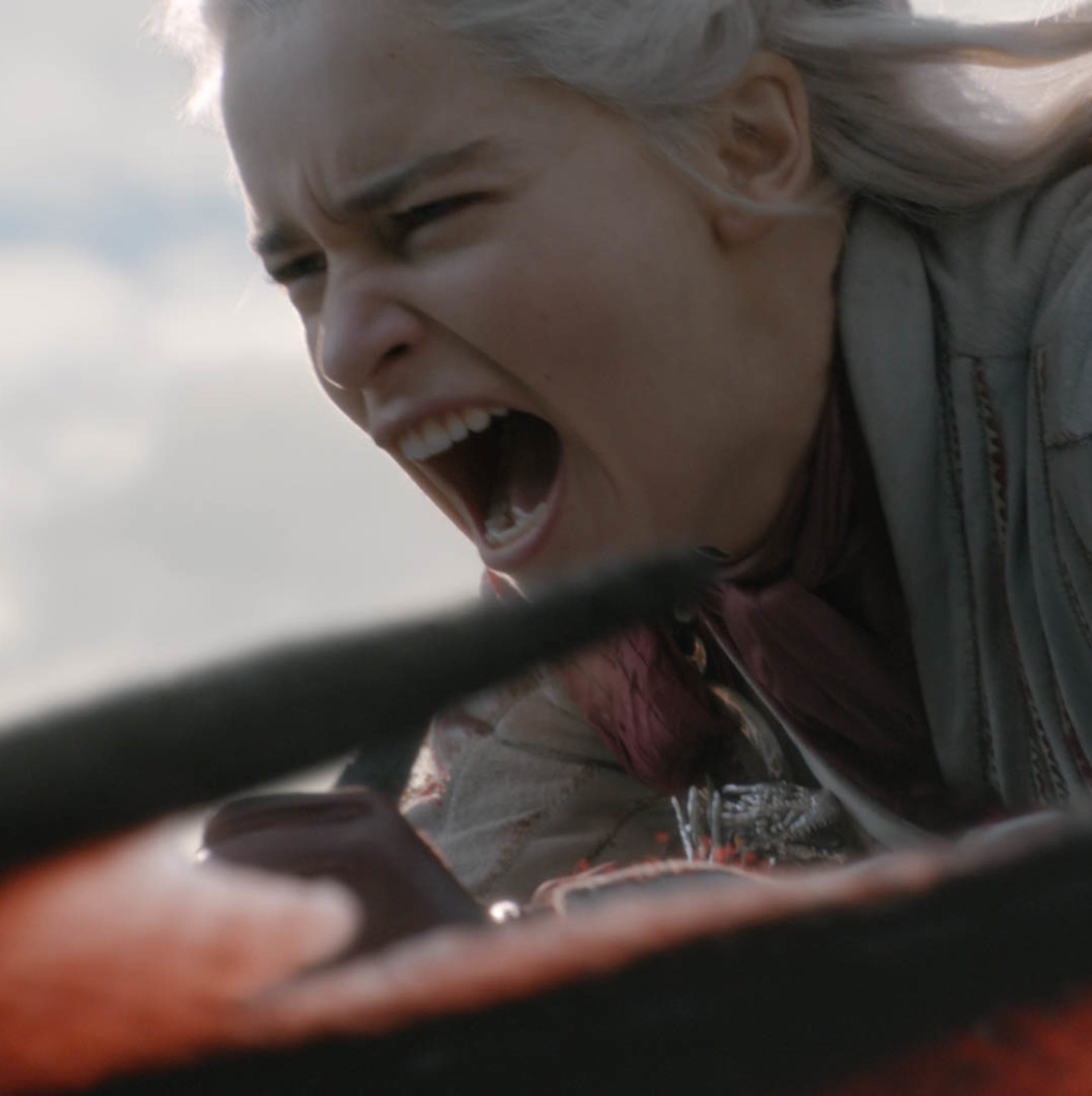 Daenerys Targaryen (Emilia Clarke) is filled with rage at the death of one of her dragons as she rides her last remaining dragon.