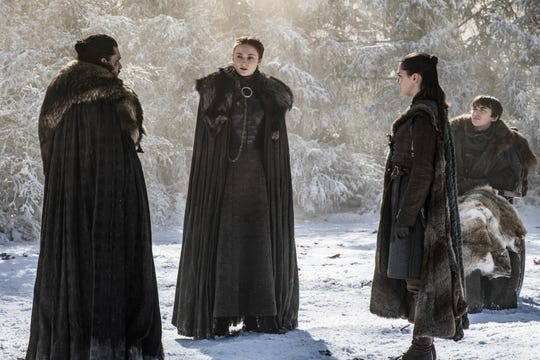 Jon Snow (Kit Harington), left, is about to reveal a family secret to his Stark siblings, Sansa (Sophie Turner), Arya (Maisie Williams) and Bran (Isaac Hempstead Wright).