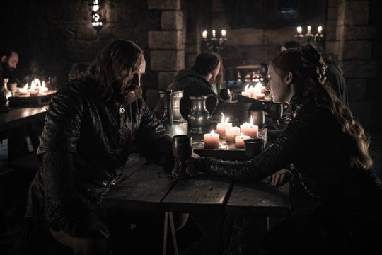 "Sandor ""The Hound"" Clegane (Rory McCann), left, and Sansa Stark (Sophie Turner) have both been through a lot over eight seasons."