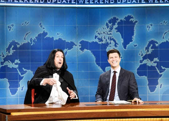 "Colin Jost with Adam Sandler on ""Saturday Night Live."""