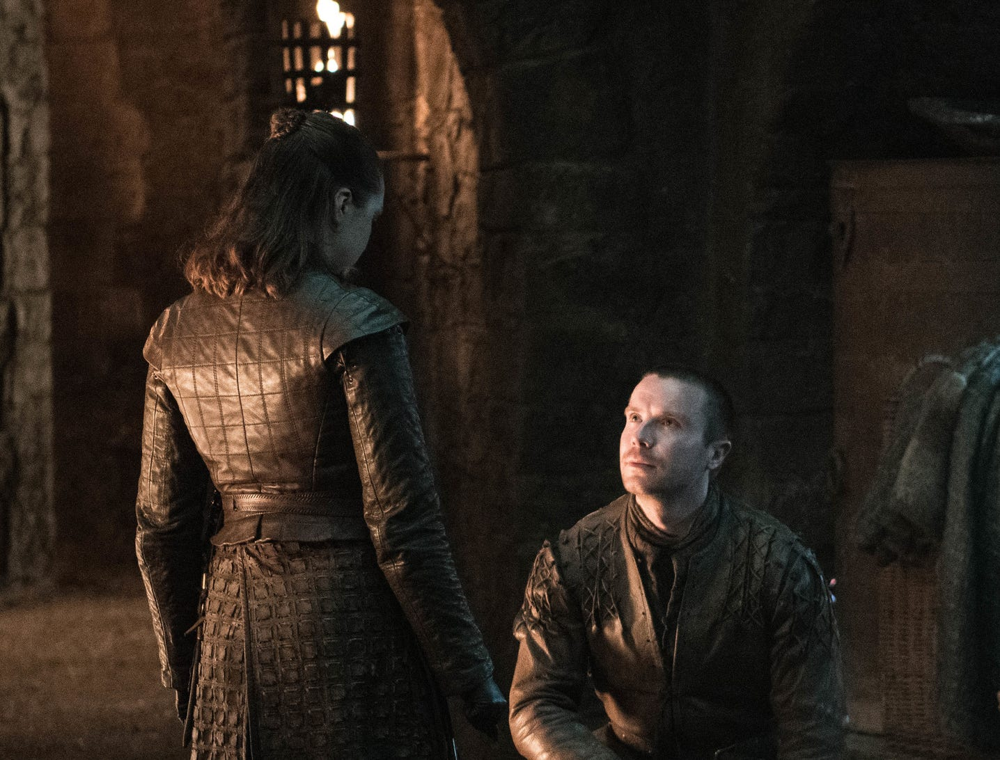 Gendry (Joe Dempsie), right, proposes to Arya Stark (Maisie Williams).