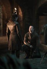 Gendry (Joe Dempsie), right, proposes to Arya Stark (Maisie Williams).